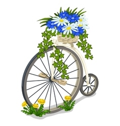 Vintage bicycle decorated with flowers vector