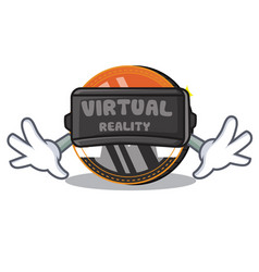 With virtual reality monero coin character cartoon vector