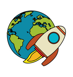 World rocket spaceship image vector