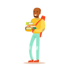 young happy man in casual clothes with backpack vector image vector image