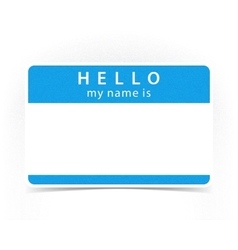 Blue color name tag blank sticker hello vector