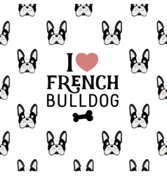 French bulldog seamless pattern in vintage style vector