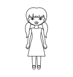 Girl silhouette with pigtails and dress vector