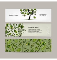 Banners set tropical tree design vector image