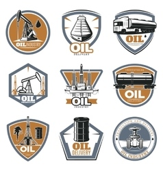 Colorful oil extraction labels vector