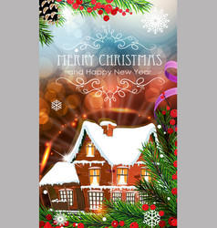 House on abstract christmas background vector