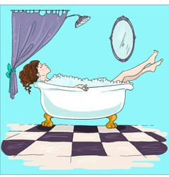 Girl taking bath relaxation time vector