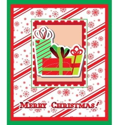 Merry Christmas greeting card with presents vector image