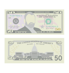 50 dollars banknote cartoon us currency vector