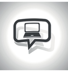 Curved laptop message icon vector