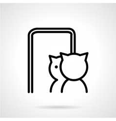 Cat in mirror simple line icon vector