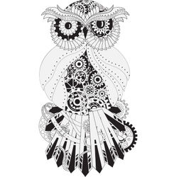Steampunk outline owl with gear metallic vector