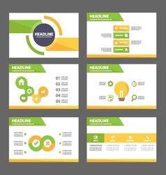 Green yellow presentation templates infographic vector