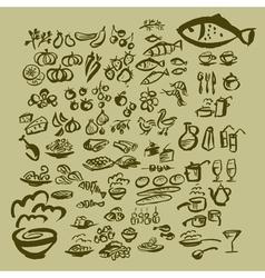 sketch food icon set vector image