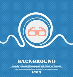 3d glasses icon sign blue and white abstract vector