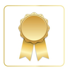 Award ribbon gold icon white vector image vector image
