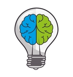 Brain bulb light half vector
