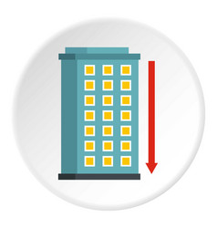 Building and red down arrow icon circle vector