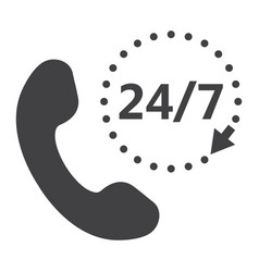 call 24 7 solid icon support service and website vector image