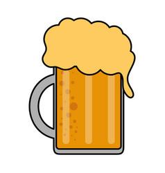 Color image cartoon beer jar glass with foam vector