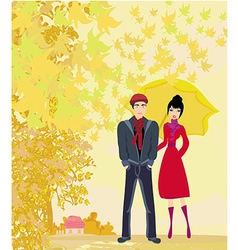 Couple walking in autumn day vector