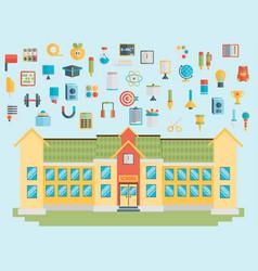 Education school university flat icon set vector