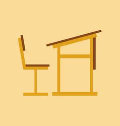Flat icon on stylish background school desk chair vector