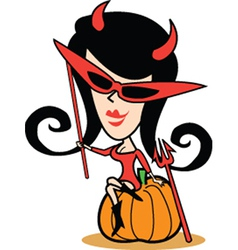 Girl in halloween costume vector image