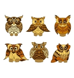 Great horned owls with mottled brown plumage vector image vector image