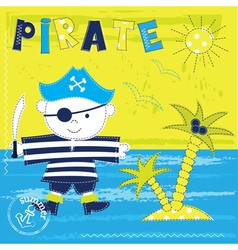Kid background with pirate vector