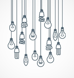Light bulb hanging on cords - lamps vector image vector image