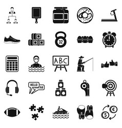 Man sport icons set simple style vector