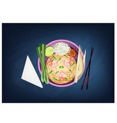 Pad thai or stir fried noodles with prawns vector