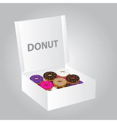 paper box full of colorful donuts eps10 vector image vector image