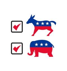 Republican elephant democrat donkey election vector