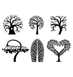 set of art tree symbols vector image