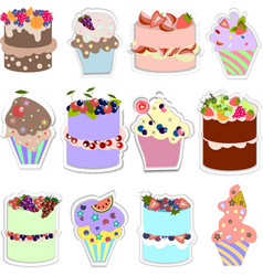 Set of sweets different types of cakes vector