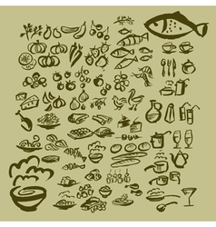 sketch food icon set vector image vector image