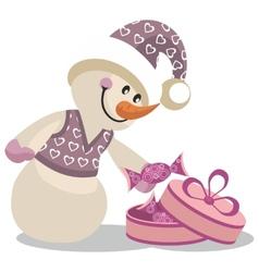 Snowman color 16 vector image vector image