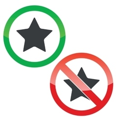 Star permission signs set vector image