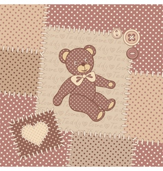 Vintage greeting card with teddy bear vector image