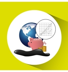 World piggy oil industry growth diagram background vector