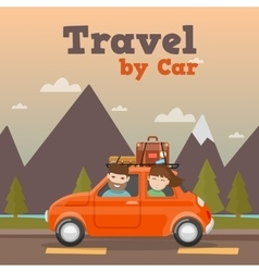Family travel by car in mountains vector