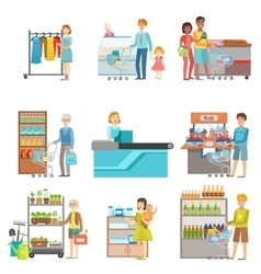 People Shopping In Supermarket Set Of vector image