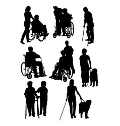 The activity of disabled people silhouettes vector