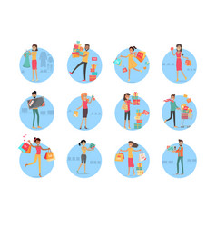 people doing shopping and buying on sales set vector image