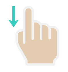 swipe down flat icon touch and hand gestures vector image
