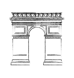 Black blurred silhouette monument arch antique vector