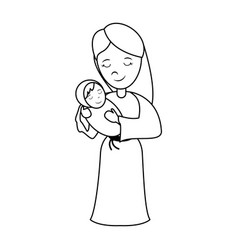 Virgin mary carrying baby jesus holy family ico vector