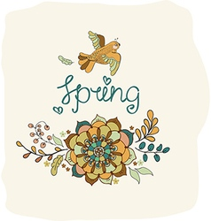 Natural floral background with Spring lettering vector image